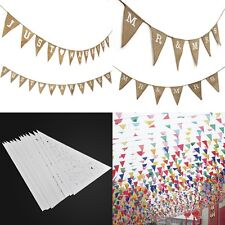 Mr & Mrs Just Married Flower Fabric Bunting Wedding Party Hessian Rustic Décor