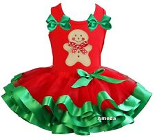 Red Green Satin Trimmed Tutu Xmas Gingerbread Man Red Tank Top Party Dress