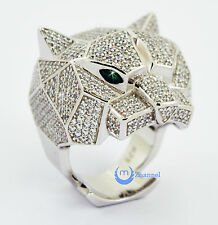 Leopard Panther Head Fashion Cocktail RING w/Green Eyes Sterling Silver