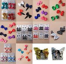 BOW HAIR BEAK CLIPS, GRIPS, SLIDE, COMB ACCESSORY, FABRIC, RIBBON, SCHOOL, PARTY