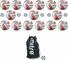 15 x MITRE IMPEL TRAINING FOOTBALLS + MITRE BALL BAG - WHITE/RED - SIZES 3,4 & 5