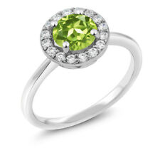 1.55 Ct Round Green Peridot 925 Sterling Silver Ring