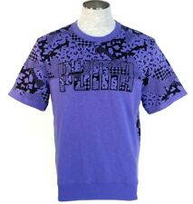 Puma Signature Short Sleeve Purple Crew Neck Sweatshirt Mens NWT