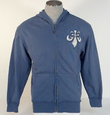 Affliction Signature Blue Vintage Monocle Skull Zip Front Hoodie Hooded Mens NEW