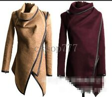 Winter New Fashion Womens Cape Cloak Poncho Woolen Jacket Trench Loose Coat Size