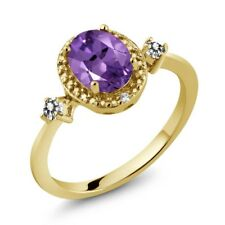 1.14 Ct Oval Purple Amethyst White Diamond 18K Yellow Gold Plated Silver Ring