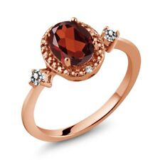 1.34 Ct Oval Red Garnet White Diamond 18K Rose Gold Plated Silver Ring