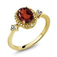 1.34 Ct Oval Red Garnet White Diamond 18K Yellow Gold Plated Silver Ring