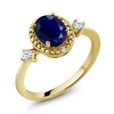 1.90 Ct Blue Sapphire White Created Sapphire 18K Yellow Gold Plated Silver Ring