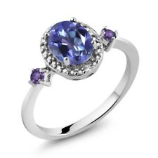 1.43 Ct Oval Tanzanite Blue Mystic Topaz Purple Amethyst 925 Silver Ring