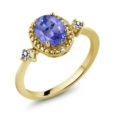 1.30 Ct Oval Blue Tanzanite White Diamond 18K Yellow Gold Plated Silver Ring
