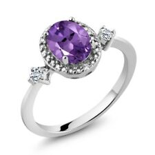 1.17 Ct Oval Purple Amethyst White Topaz 925 Sterling Silver Ring