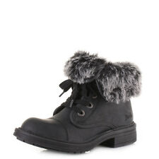 Womens Blowfish Farina Faux Fuzzy Fur Lined Lace Up Ankle Boots Size