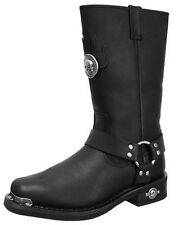 Harley-Davidson Mens Delinquent Black Leather Motorcycle Harness Boots 91229