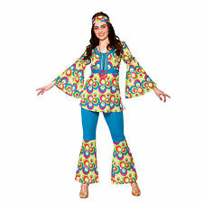 Ladies Funky Hippie Chick Fancy Dress Party Costume Halloween 70 Seventies Hippy