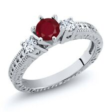 0.84 Ct Round Red Ruby White Topaz 18K White Gold 3-Stone Ring