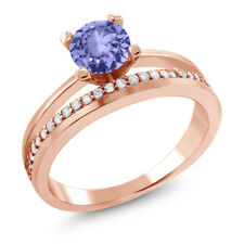 1.15 Ct Round Blue Tanzanite 18K Rose Gold Plated Silver Ring