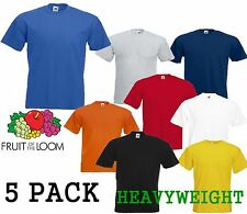 5 MENS FRUIT OF THE LOOM HEAVY COTTON T SHIRTS,PICK YOUR PACK COLOUR SIZES S-XXX
