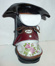 Collectible The Clay Cobbler Pottery Boot Planter/Vase/Pencil Holder TOO CUTE!