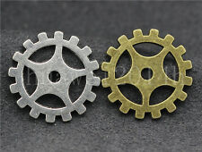 8/30/150pcs Antique Silver Filigree Gear Steampunk Jewelry Charms Pendant 19mm