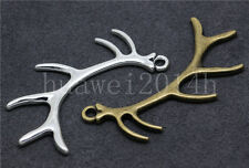 2/8/40pcs Antique Silver Beautiful 3D Antlers Jewelry Charms Pendant DIY 66x27mm