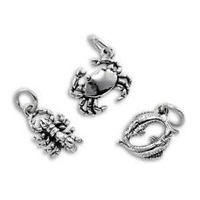 925 Sterling Silver 3D Zodiac Charms Birthday Star Sign Astrology Horoscope
