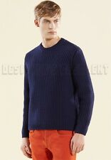 GUCCI Mens blue RIBBED 100% COTTON crewneck LOGO Tab sweater NWT Authentic $935!