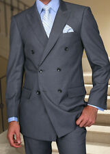 MENS CHARCOAL DOUBLE BREASTED SUPER 150'S WOOL DESIGNER BUSINESS SUIT 38-56