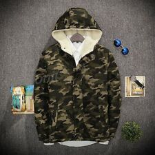 Mens Camo Field Military Jacket Combat Hooded Army Quilty Parka Liner Work Coat