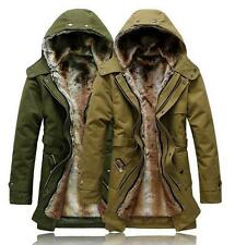 New Mens  warm Fur coat Fur Collar Hooded Parka Winter Thick Cotton Down Jacket