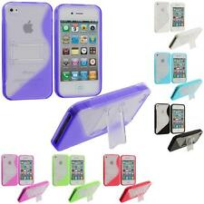 Color Clear TPU Hybrid S-Line Skin Case Cover with Stand for iPhone 4 4G 4S