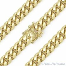 7.2mm Miami Cuban Curb Link Italy Sterling Silver 14k Yellow Gold Chain Bracelet