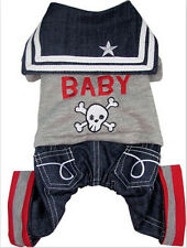 Dog Cat Pet Clothes Apparel Rock Baby Grey Sweater Jeans Jumpsuit Pants Costumes