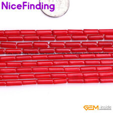 "Column Tube Red Coral Cylinder Gemstone Beads For Jewelry Making Strand 15"" DIY"