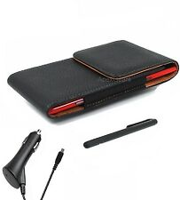 For HTC Black Faux Leather Vertical Pouch Belt Clip Case CAR CHARGER STYLUS
