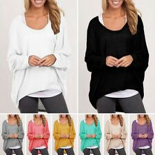 Women Long Sleeve Casual Tunic Pullover Loose Baggy Top Jumper Blouse S-XXL YG
