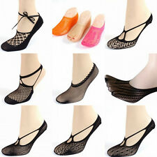 1Pair Sexy Women Cross Lace No Show Peds Antiskid Invisible Liner Low Cut Socks