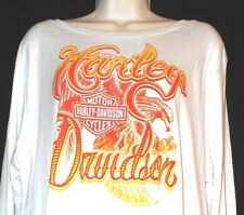 NWT Harley Davidson White T-Shirt Long Sleeve Scoop Neck
