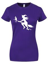 Witch Silhouette Halloween Ladies Purple T-Shirt