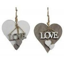 Gisela Graham Natural or White Wood 'Love' Heart Tassel Decoration Wedding 35840