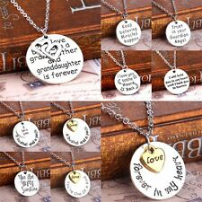 Love Heart Words Silver Round Pendant Necklace Family Chain Christmas Gifts New