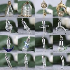 Lucky Glass Wish Bottle Jewelry Chain Cord Necklace Dandelion Seeds Pendant Gift