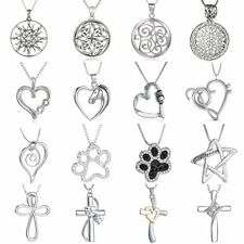 Silver Love Heart Cross Horse Footprint Pendant Crystal Necklace Bridal Women