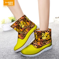 Skull Trendy Women Winter Snow Boots Ladies Chunky Warm Ankle Snow Flat Boots
