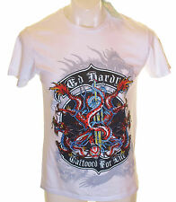 Bnwt Authentic Mens Ed Hardy Rhinestone Platinum Snake & Shoots T Shirt New
