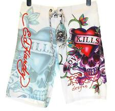 Bnwt Mens Ed Hardy Board Swim Surf Shorts Love Kills Slowly New White