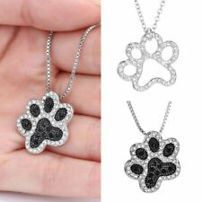 Charm Footprint Pendant Silver Mom Necklace Dog Paw Crystal Rhinestone Jewelry