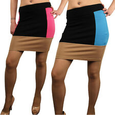 Ladies Sexy High Waisted Bodycon Mini Tube Skirt Short Block Colours Womens