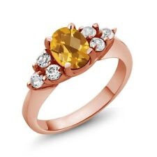 1.43 Ct Oval Checkerboard Yellow Citrine 18K Rose Gold Ring