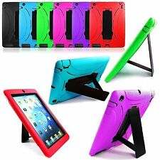 Heavy Duty Shockproof Hybrid Rubber Hard Case Cover Stand For Apple iPad 2/3/4